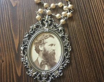 My Vintage Boyfriend John Portrait Photography Necklace Frame Man Pearl Ornate Victorian
