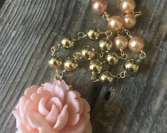 Duchess Vintage Repurposed Necklace Jewelry Flower Floral Pink Peach Gold Pearl Beads