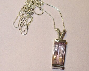 Natural Kunzite Pendant Necklace  ~ Genuine 5.9 Carat Mined from Earth Gemstone in Solid Sterling Silver