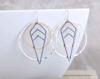 Geometric Earrings Dangle Earrings Modern Jewelry Mixed Metal Earrings Black Gold Dangle Earrings Trendy Earrings Holiday Gift For Her