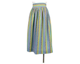 Vintage 40s Skirt - Vintage 50s Skirt - Abstract Skirt - Novelty Print Skirt - 50s Novelty Print - 50s Full Skirt - 40s High Waist Skirt S