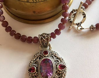Natural Ruby Necklace-Bali Sterling Silver Pendant Necklace