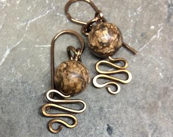 Brown Jasper Wirework Dangle Earrings Antique Bronze Gold Hammered Handmade Earwires  1.99 Shipping USA