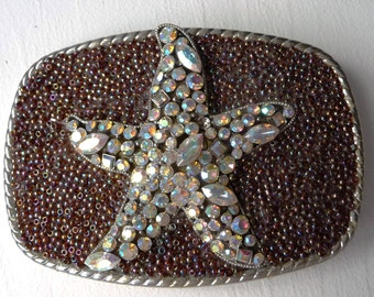 Starfish Belt Buckle - Womens Rhinestone Belt Buckle - Star Fish Buckles- Ocean Theme Buckle- Silver- Resort Wear Cruise - Womans Gift Idea
