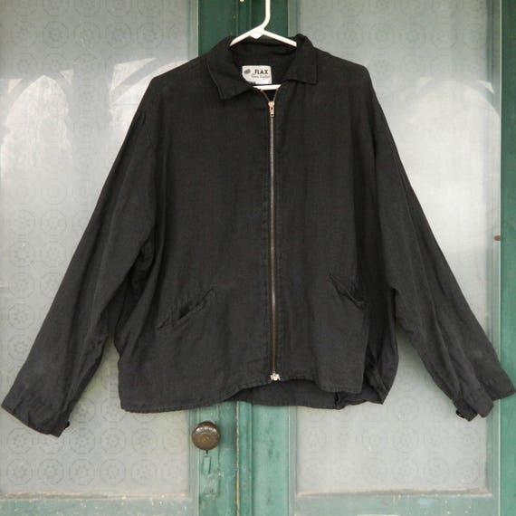 FLAX Engelheart Retro Grandpa's Jacket -M- Black Linen
