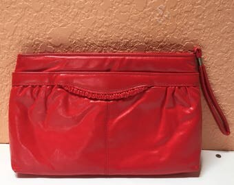 Vintage 1980s Bright Red Clutch Purse, Red Faux Leather Purse with Wrist Loop and Ruffle Detail