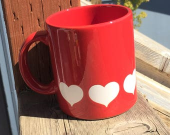 Vintage Red Coffee Mug Cup with White Hearts, Vintage Waechtersbach Made in Germany Valentine's Day Coffee Mug Cup