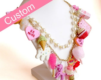 Custom Statement Necklace, Custom Pink Candy Charm Necklace, Food Jewelry, Handmade polymer clay charms, Pin Up, Kawaii, Kitsch