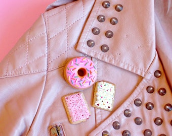 Strawberry Pop Tart Pin, Cherry Pop Tart Brooch, Toaster Pastry Charm, Miniature Food Jewelry, Food Pin