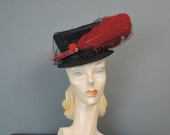 Vintage Black Straw Topper Hat, Tilt Hat with Dramatic Red Feathers, elastic strap Strap, 1940s