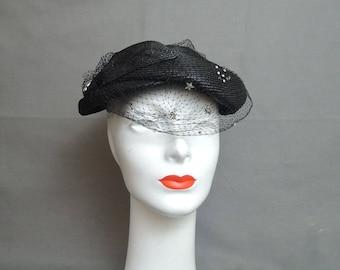 Vintage Hat 1950s Black Straw with Rhinestone Veil, Evening 1940s Hat