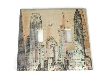 Double Light Switch Cover Wall Decor Switchplate Cover Switch Plate in Skyline Sketch (289D)