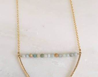 Amazonite and Gold V Necklace