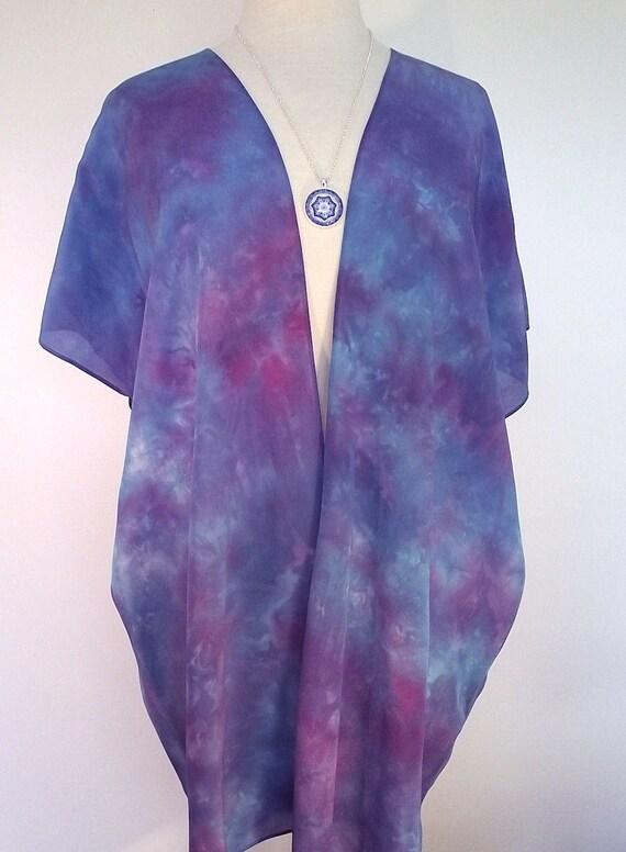 Silk Kimono-Hand Dyed Silk-Turquoise, Fuschia and Blue-Silk Crepe-Size S-XL