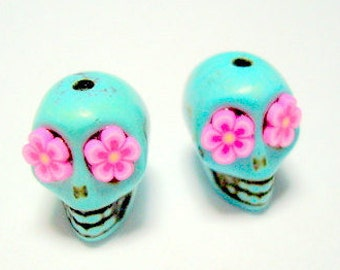 Pink Flower Eyes in Small Turquoise Day of The Dead Sugar Skull Beads-12mm