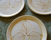 Set of 3 Dogwood Leaf Dessert Dishes/Snack Plates/Small Dishes/