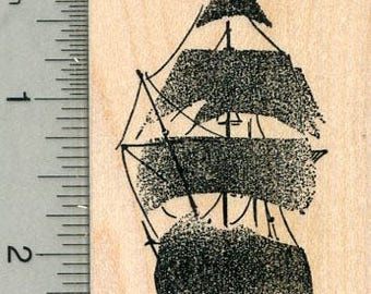 Ghost Ship Rubber Stamp, Pirate Series J32623 Wood Mounted