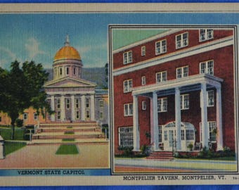 Vermont State Capitol Montpelier Tavern Linen Postcard
