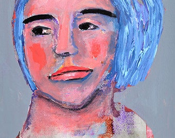 Acrylic Mixed Media Collage Sympathetic Woman Portrait Original Painting. Blue Gray Small Home Wall Art.