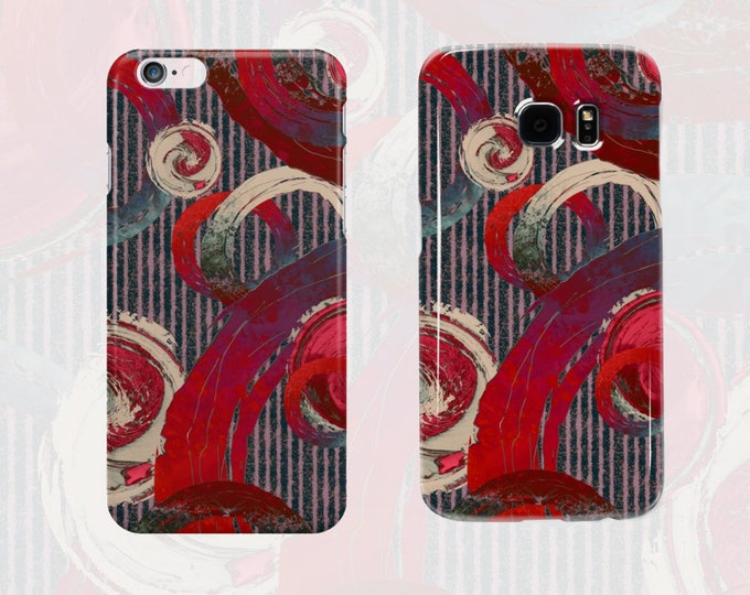 Cell Phone Case Big Modern Abstract Red Purple Rough Rings Cream and Pink Swirl Circles Pinstripe Print