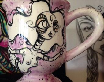 Purple Mermaid Third Eye Goddess mug and tea cup