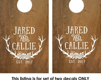 Personalized Set of 2 Cornhole Board Decals | Custom Cornhole Boards | Decals for cornhole boards | Cornhole board designs | rustic wedding