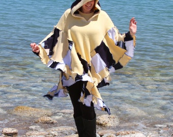 Galoshes Wool Free  frankensweater poncho capelet upcycled hoodie gypsy coat
