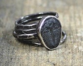 Trilobite Fossil Sterling Stacking Rings with Hammered Finish - Set of 5 - MADE TO ORDER