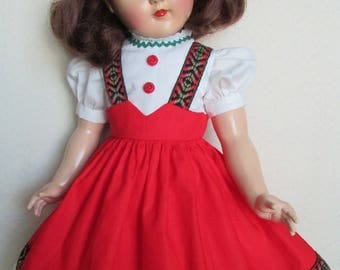 """For 21"""" P-93 Ideal Toni - Tyrolean Dress in Red"""