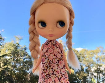 Pink Floral Mod Blythe Doll Floaty Dress (Tent/Trapeze/GoGo/Groovy/1960s/Vintage Fabric)