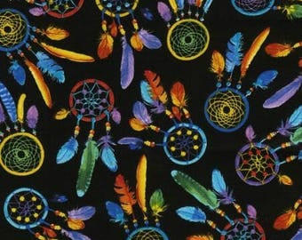 Dreamcatchers Bright Black Timeless Treasures Fabric