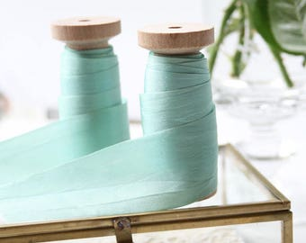"Robins Egg Blue Silk Ribbon Spool, Hand Dyed Silk Ribbon, 3 yards, 1.25"" Wide Silk Ribbon, Silk Ribbon, Wide Silk Ribbon"