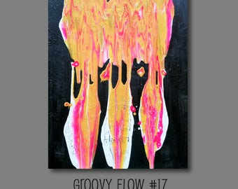 Groovy Abstract Acrylic Flow Crackle Painting #17 Ready to Hang 16x20