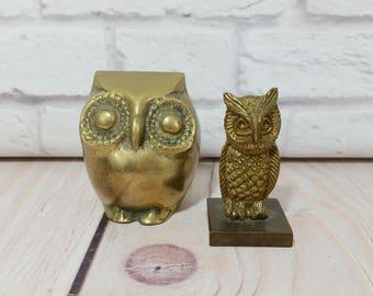 Vintage Brass Owl Figure Statues Set of 2