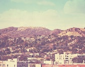 photography, Hollywood sign photograph,The Hills landscape Los Angeles California retro vintage, travel movies film cinema 8x8