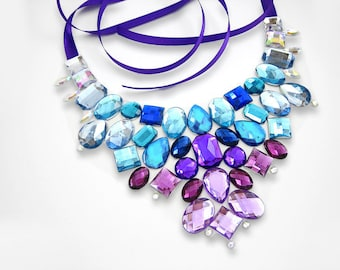 On Sale Blue and Purple Rhinestone Statement Necklace, Discount Rhinestone Bib Necklace, Formal Necklace, Military Ball Necklace