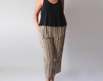 slouch pants | tan black drawstring cropped pants | 1990s m