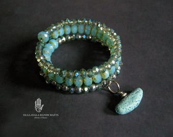 Blue and Silver Beaded Wrap Cuff Bracelet with Clay Dangle