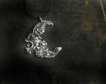 Crescent Moon Necklace, Lunar Phases Pendant, Raw Sterling Silver Jewelry