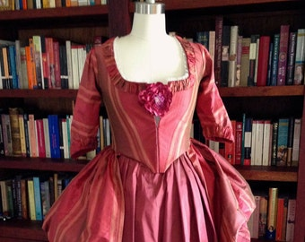 Gorgeous Authentic Marie Antoinette 18th Century Colonial Rococo Poloniase Dress Gown Costume in Red Silk Made to order!