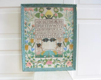 Vintage Alphabet Sampler, Floral Sampler, Cross Stitch Sampler, Vintage Embroidery, Floral Embroidery, Alphabet Embroidery, Pastel Embroider