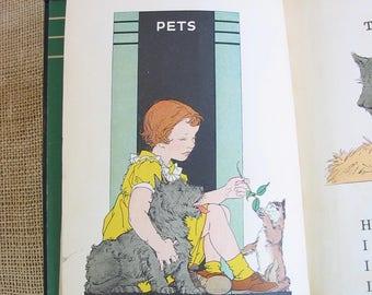 Vintage Child Book, Vintage School Reader, Vintage Child Primer, Green Orange Book, Basic Reader Primer, Vintage Reader, Children's Book