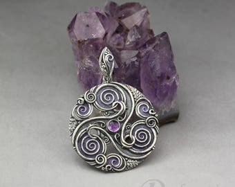 Forest triskele in purple - Celtic inspired silver pendant, amethyst, oak leaves, spirals, leaves , limited collection, amulet, talisman