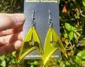Star Trek Mirrored Gold Geek Lasercut Earrings Sci Fi Jewelry, Comicon Next Generation Accessory, Costume Captain Kirk Into Darkness