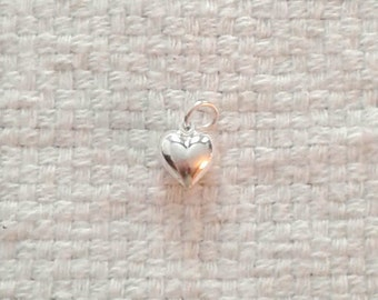 """Sterling Silver Large Puffed Heart Charm - Double Sided - 3/8 x 3/8 x 3/16"""""""
