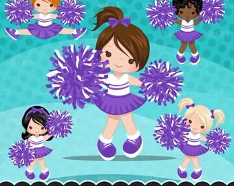 Cheerleader Clipart. Sports Graphics, cheerleader pom pom. Purple white cheerleader, baseball, football, illustration, basketball commercial
