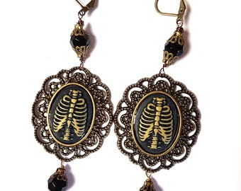 Rib Cage Cameo Earrings-Lever Back Dangles-Spooky Chic-Dark Gothic Jewelry-Victorian Mourning Jewellery-Antique Style-Gifts for Goths-Morbid