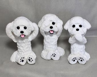 Bichon Frise Dog Handmade Clay Sculpture Hear Speak See No Evil set of 3 by Laurie Valko Christmas Gift Holiday Ornament