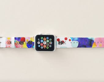 Apple Watch Leather Band - Rupydetequila Happy Illustration