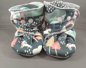 Pastel Unicorn Mountains Trees No-Slip Booties for Babies, Toddlers, Kids.